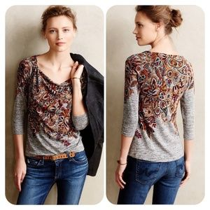 Anthro Postmark Jacaranda Floral Cowl Neck Top